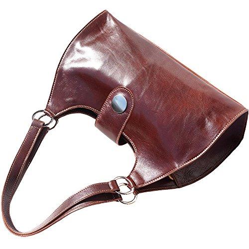 à Marron 6418 Grand main la épaule à double vrai lanière main à Sac et avec en tamponè vache cuir de UHAtxfqw