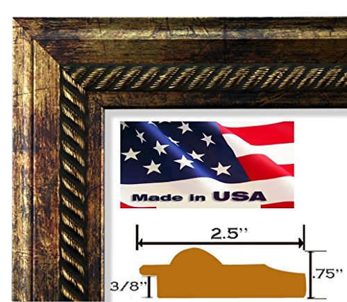 Copper Custom Picture Frame (24x36 Elegant Bronze Copper Rope Picture Poster Wall Decor FRAME 2.5 Inch wide wood composite finish MOULDING)