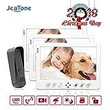 JeaTone 10'' TFT Touch Key Video Doorbell Camera Door Phone 1200TVL Outdoor Night Vision Camera Home Monitor Security Intercom System