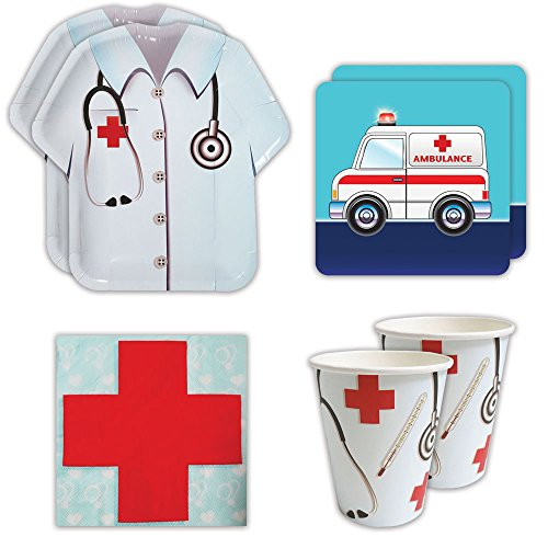 Doctor Party Supplies (Doctor Standard Party Packs (65+ Pieces for 16 Guests!), Doctor Party Supplies, Nurse Graduation, Birthday, Decorations)