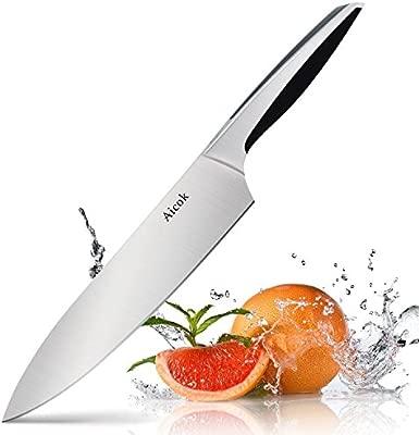 Aicok Cuchillos Cocina, Cuchillos de Cocinero Profesionales 20cm, Alemán Cuchilla Afilada y Cuchillo de Acero Inoxidable Con Mango Ergonómico