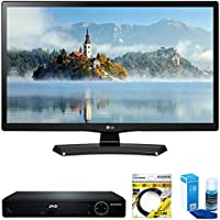 LG 28 720p HD LED TV 2017 Model (28LJ4540) with Sylvania HDMI HD DVD Player, 6ft High Speed HDMI Cable Black & Universal Screen Cleaner for LED TVs Large Bottle