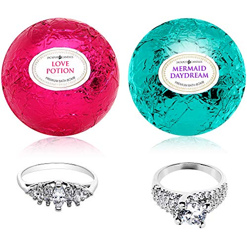 Mako Gift Set - Mermaid Love Potion Bath Bombs Gift Set of 2 with Ring Surprise Inside Each Made in USA