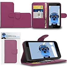Purple HTC Desire 320 Case Durable PU Leather Book Style Wallet Cover with Credit / Business Card Holder and Horizontal Viewing Stand