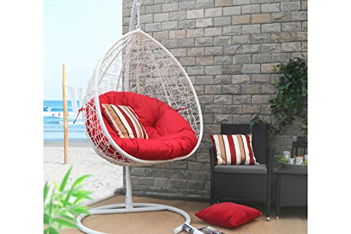 Baner Garden X35 Oval Egg Hanging Patio Lounge Chair Porch Swing Hammock Single Seat with Red Cushion, White