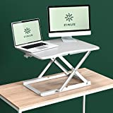 Zinus Smart Adjust Standing Desk/Height Adjustable Desktop Workstation/28in x 21in/White