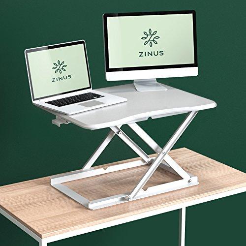 Zinus Smart Adjust Standing Desk / Height Adjustable Desktop Workstation, White