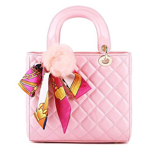 2018 Moda Mujeres Carrera OL Bolso Lingge Bufandas Bandolera Bolsa De Mensajero Cuerpo Cruzado Bolsa Clásico Bolsa De Noche Bolsa Cuadrada Pink