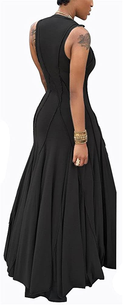 ETCYY Womens Slim Sleeveless Summer Pleated Maxi Dress