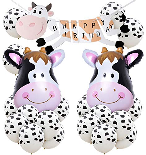 Kreatwow Cow Birthday Party Decoration Farm Animal Party Supplies Cow Balloons Happy Birthday Banner