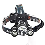 Boruit 9000Lm 3X XML T6 LED Headlamp Head Light Torch 2* 18650+Car/AC Charger