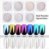 Shoppy Star:7 Colors 2g/box Nail Mirror Effect Rainbow Glitter Chrome Pigment Shell Powder Nail Art Accessories Fairy Dust Glitter : 06