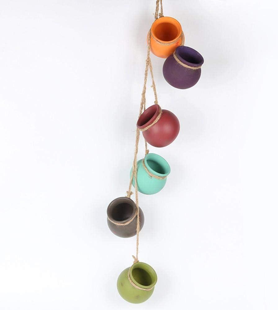 Gravere Maceta colgante con cuerda de yute para suculenta 6 piezas Mini maceta de cer/ámica Maceta Decoraci/ón para colgar en la pared wondeful