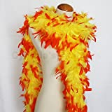 80g BOA 72'' Turkey Chandelle Feather Boas - Yellow with Orange tips