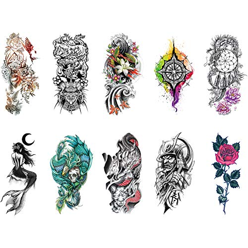 Temporary Tattoo Sticker Flower Rose Dream Catcher Skeleton Mermaid Fake Tattoo Arm for Women Men 10 Sheets