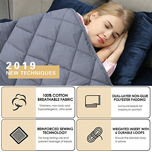 """Weighted Heavy Blanket Adult  Patented HugBeads Cotton   15lbs 48""""x72""""  for Individual   Twin  """