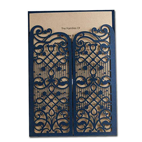 WISHMADE Elegant Navy Blue Laser Cut Wedding Invitations Cards with envelopes, Also for 50th 60th Birthday Engagement Shower Graduation (100 Pieces)]()