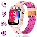 Themoemoe Kids smartwatch, Kids GPS Watch Gifts for 4-12 Year Old Girls Touchscreen Camera Game Compatible with 2G T-Mobile Birthday Gift for Kids(S6-Pink)