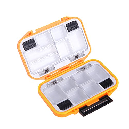 Docooler 12 Compartments Waterproof Storage Case Fly Fishing Lure Spoon Hook Bait Tackle Box (Orange)