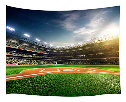 KOTOM Sports Field Tapestry Wall Hanging Art, Professional Baseball Grand Arena in The Sunlight, Wall Blanket Beach Towels Home Decor Polyester Fabric for Bedroom Living Room Dorm,60X40 Inches