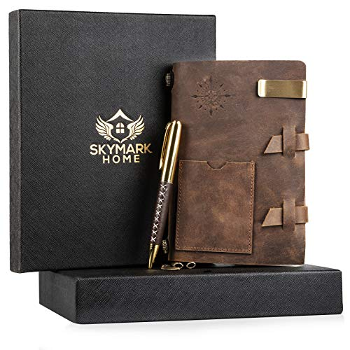 - Leather Journal Handmade Travel Notebook - Vintage Antique Diary Writing notepad for men & women, Refillable Lined Paper 7 x 4.8 inches, Luxury Gift Box Set with Golden Classic Pen, Clip, Card holders