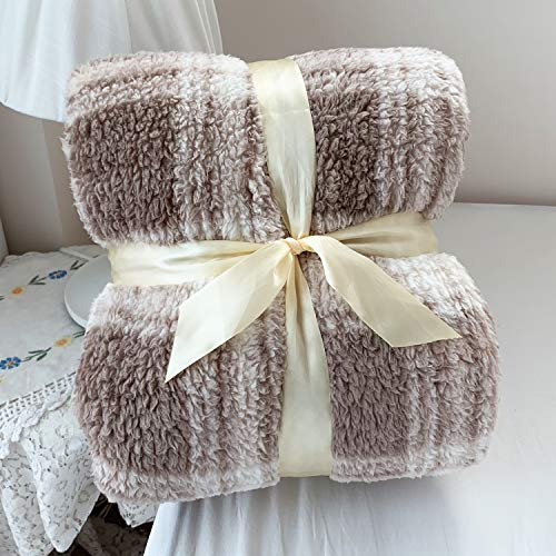 DISSA Lattice Sherpa Fleece Blanket Lightweight Soft Blanket Fuzzy Throw for Couch Sofa Bed
