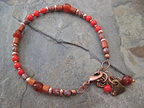 Coral Carnelian Howlite and Hematite Copper Mixed Metals Bracelet Gemstone Artisan Jewelry (Copper Coral Bracelet)