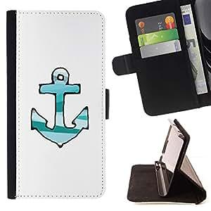 Momo Phone Case / Flip Funda de Cuero Case Cover - Las líneas dibujadas Verde Teal blanco de anclaje - Samsung Galaxy S6 EDGE