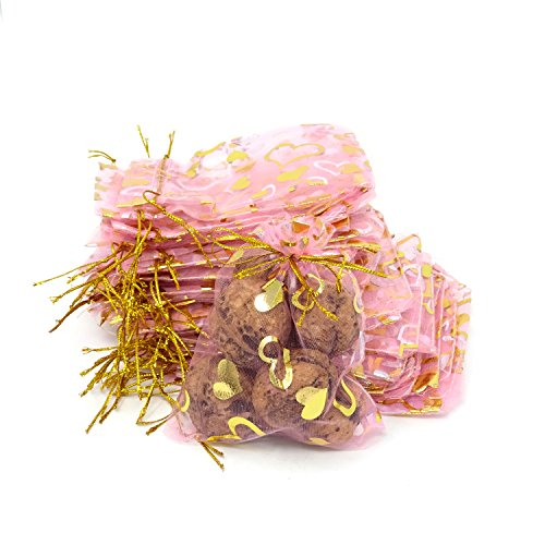 Gold Sachet (Honbay 50PCS 3.7x4.9inch (9.5x12.5cm) Gold Heart Drawstring Organza Gift Bags Candy Bags Jewelry Pouches for Wedding Party Birthday Baby Shower Christmas)