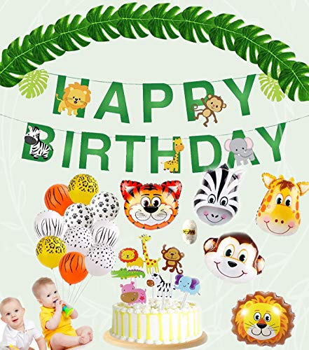 Animal Decorations Jungle Party Supplies Wild Zoo Animals Happy Birthday Banner, Animal Balloons, Animal Cake Toppers, Jungle Wild ZooTheme Birthday Party Decorations