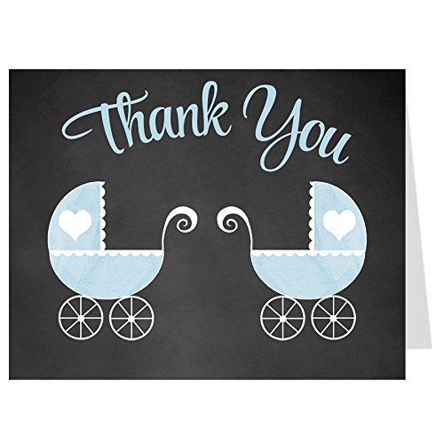 Chalkboard Carriage, Baby Shower Thank You Cards, Multiple Colors, Carriage, Girl, Boy, Twins, Set of 50 Printed Folding Notes with Envelopes,, Blackboard, Traditional (pink/blue twins)