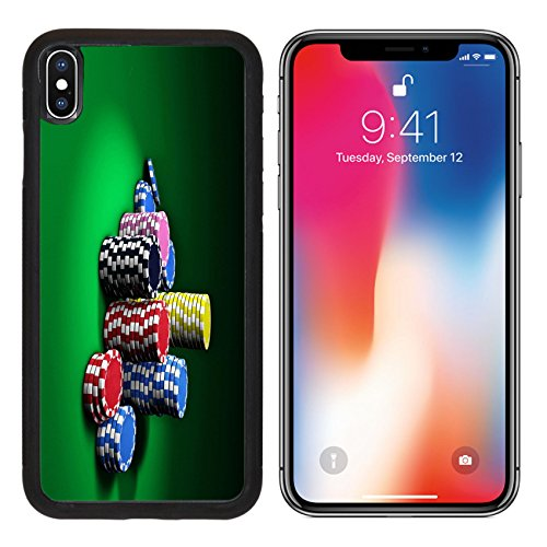 MSD Premium Apple iPhone X Aluminum Backplate Bumper Snap Case IMAGE ID: 28461099 Gambling and casino entertainment concept with stacks of colorful poker chips on a green table 3d rendering - Poker Chip Money Clip