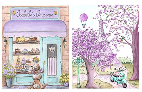 Paris Art Prints, Set of 2, Personalized Patisserie & Eiffel