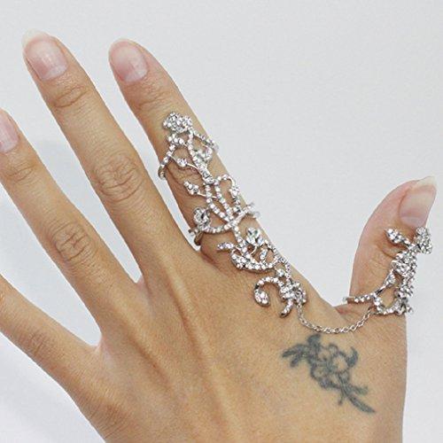 Zking Vine Rose Rhinestone Armor Knuckle Heart Shield Full Finger Two Band Ring (B-silver)