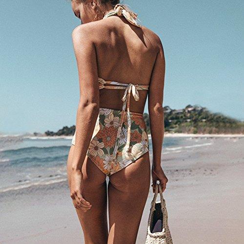 Alta Bagno Cinghie Spaccati Incrociate Stampati da Costume iBaste Fiori Vita Bikini xE8fYqwPTP