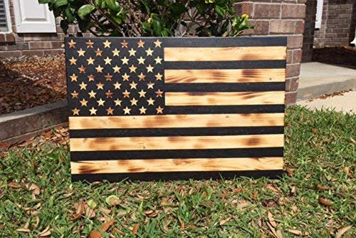 Funlaugh Wooden American Flag Vintage Flag Rustic American Flag United States Flag Us Flag Stars and Strips Military Flag Rustic Flag Sayings Home Decor Wall Plaque Sign