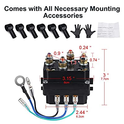 WATERWICH 12V 250A Winch Solenoid Relay Contactor with 6 Protecting caps Universal for ATV UTV 2000-5000lbs Winch: Automotive