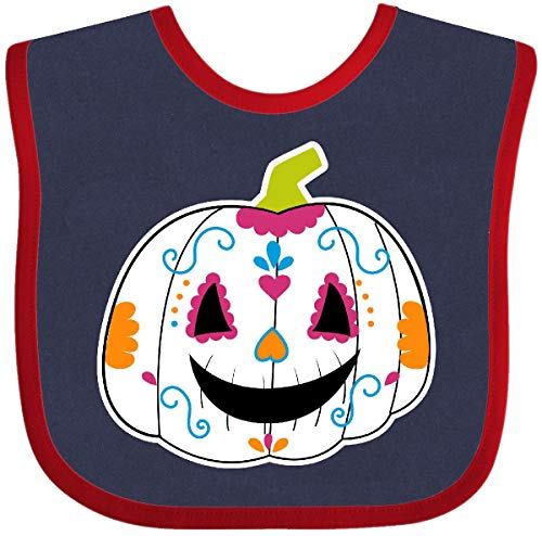 Inktastic - Day of The Dead Pumpkin Baby Bib Navy and Red -