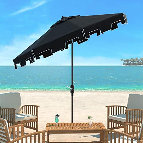 Safavieh Outdoor Collection Zimmerman Crank Market Black and White 9-inch Umbrella