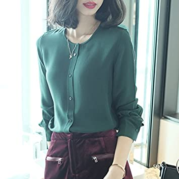 XXIN Seda De Morera Camisetas T-Shirt Plain-Colored Camisas, Blusas De Seda