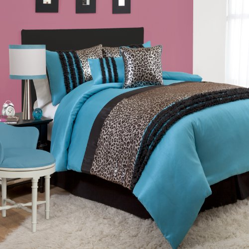 Lush Decor Kenya 5-Piece Comforter Set, Twin, Black/Blue