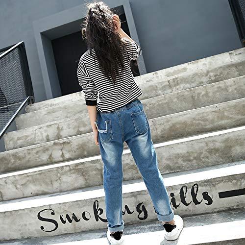 Patch Fashion 8 Jeans Denim xxl Dosige Pantaloni Stitching Cm 160 Autunno Size Età xl blu Per Donna 12 Bambini Blu pw8xI0xqg