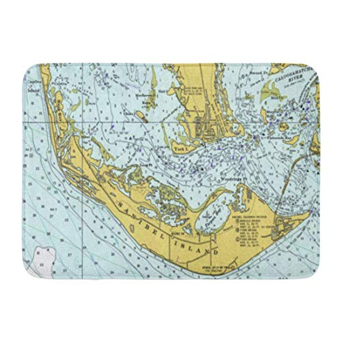 - swan ptA Bath Mat Captiva Sanibel Island Florida Vintage Nautical Chart Antique Estero Bathroom Decor Rug