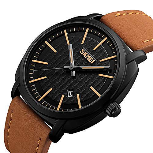 Men Fashion Watches Casual Analog Quartz Black Face Watches for Men with Luxury Leather - Square Men Face