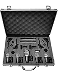 Pyle Pro 7-Piece Wired Dynamic Drum Mic Kit - Kick Bass, Tom / Snare & Cymbals Microphone Set - For Drums, Vocal, & Other...