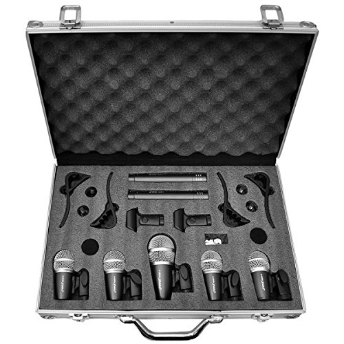 Pyle Pro 7-Piece Wired Dynamic Drum Mic Kit – Kick Bass, Tom / Snare & Cymbals Microphone Set – For Drums, Vocal, & Other Instrument – Complete with Thread Clip, Inserts, Mics Holder & Case – PDKM7