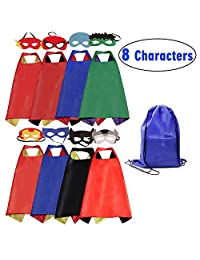 c2e51b389 Cartoon Dress up Costumes Superhero Capes 8PCS Characters with Felt Masks  and Exclusive Bag for Boys