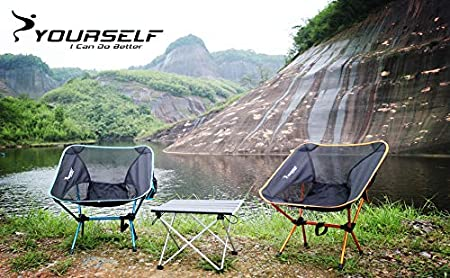 SYOURSELF Portable Folding Camping Chair-Lightweight,Compact,Comfortable Ablue Breathable Beach Travel Mesh Chairs,Heavy Duty-Perfect for Backpacking Hiking Picnic Outdoors Sporting with Carry Bag