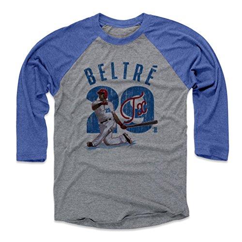 500 LEVEL Adrian Beltre Baseball Tee Shirt Medium Royal/Heather Gray - Texas Baseball Raglan Shirt - Adrian Beltre Arch B