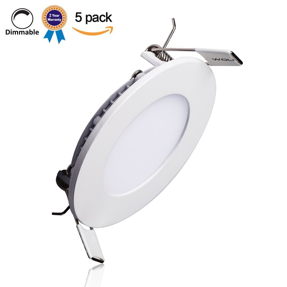 B-right Pack of 5 Units 18W 8-inch Dimmable Round LED Panel Light 1400lm Ultra-thin 4000K Daylight White LED Recessed Ceiling Lights for Home Office Commercial Lighting by B-right